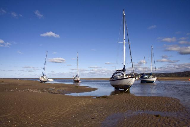 Boats at low tide, Red Wharf Bay, Anglesey, Wales
