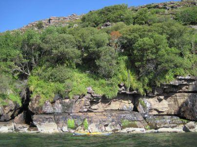 Grassy waterfalls below Ben Mor