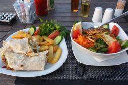 Grilled haloumi and sald