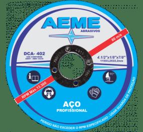 Disco de corte DCA 402 para aço profissional da AEME com rótulo azul e branco.