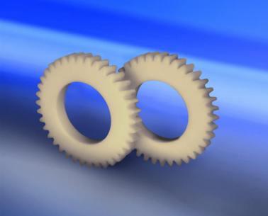 Conjunto de roda dentada constituída pela linha de plásticos industriais Nitacast.