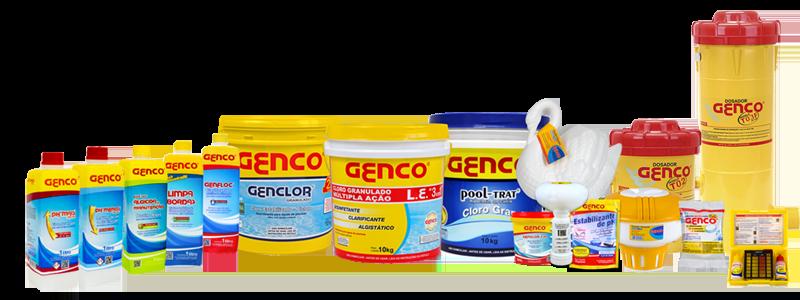 Algicidas, cloros e outros itens para o tratamento de piscinas desenvolvidos pela Genco.