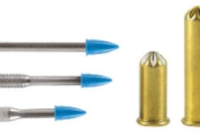 Pinos e fincapinos para o processo de fixação à pólvora por ação direta.