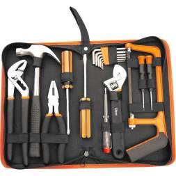 Kit de ferramentas da marca Belfix com 16 peças na cor preta e laranja.