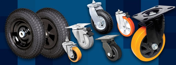 A imagem exibe diversos tipos de rodas e rodízios, contando com materiais e cores diferentes.