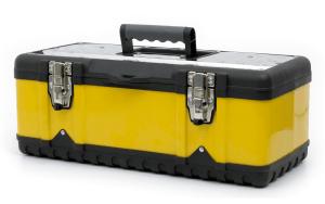 Caixa de ferramenta na cor amarela.