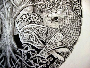 via Tattoos Hunt http://www.tattooshunt.com/index.php?s=wolf+n+tree+tattoo+design&x=0&y=0