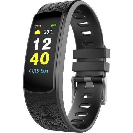 Bratara fitness iWown™ I6 HR C, IPS color full touch, 7 moduri sport, rezistenta la apa ip67, negru