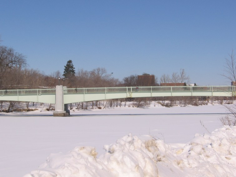 Frozen Iowa river.