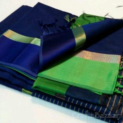 Blue Maheshwari Silk Saree With Green Border