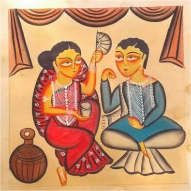 Lost In Love Kalighat Painting ; West Bengal