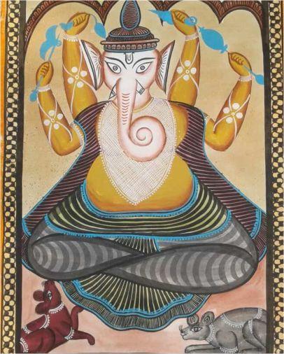 Gouriputra Ganesha Kalighat Painting ; West Bengal