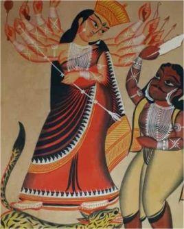 Durga Ma Kalighat Painting ; West Bengal