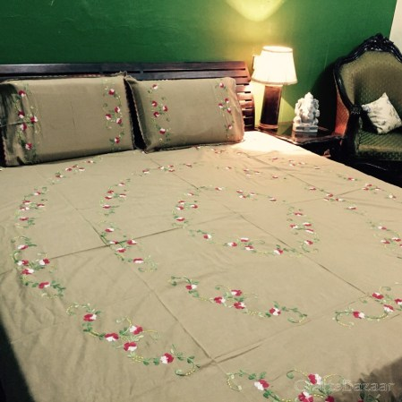 Floral Tribute Calcutta Maroon On Pale Yellow; Double Bedcover