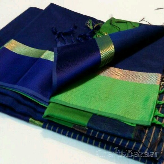 Blue Maheshwari Silk Saree With Green Border