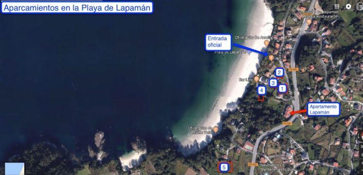 Aparcamientos para aparcar en la Playa de Lapamán