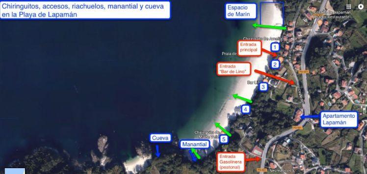 Chiringuitos, acesos, riachuelos y detalles de la Playa de Lapamán