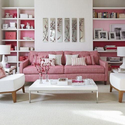 Living-room-design-with-pink-sofa-and-shelves