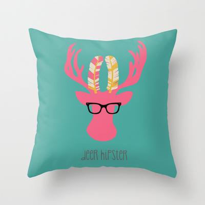 deer hipster throw pillow by Vanya B Designs