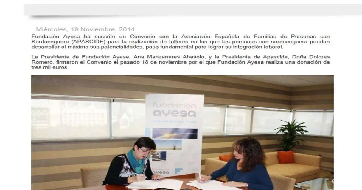 La Fundación Ayesa colabora con APASCIDE