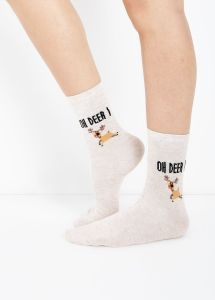 1 Pack Cream Oh Deer Christmas Socks new look