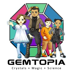 Gemtopia logo with Kids drawing