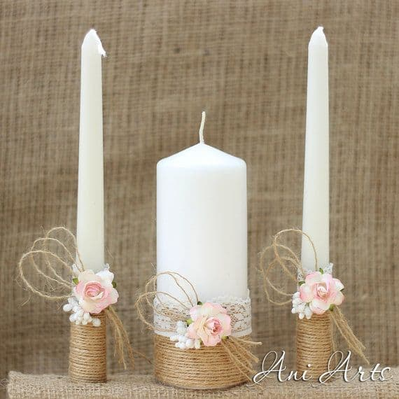 Shabby Chic Unity Candle Wedding Tradition Ceremony Hudson Valley DJ