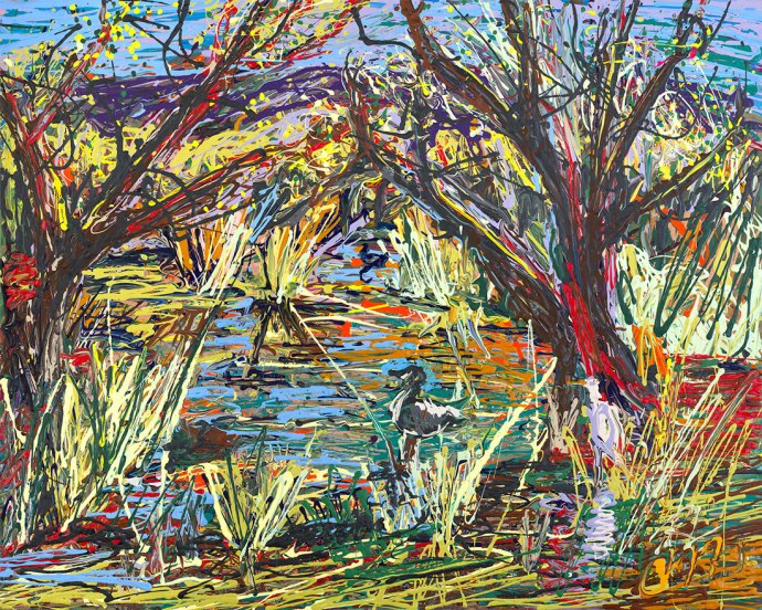 A live painting of the Madrona Marsh by Ron Squared