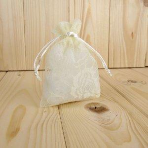 Sacchetto stoffa trama merlettata panna 10x14 CK7017P