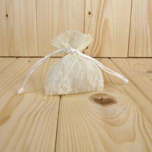 Sacchetto stoffa trama merlettata panna 9x7 P1052