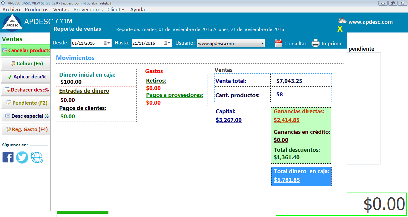 Reporte Apdesc Basic View Server 2.0