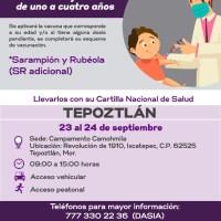 Anuncia SSM vacunación para menores de edad contra sarampión y rubéola en Tepoztlán