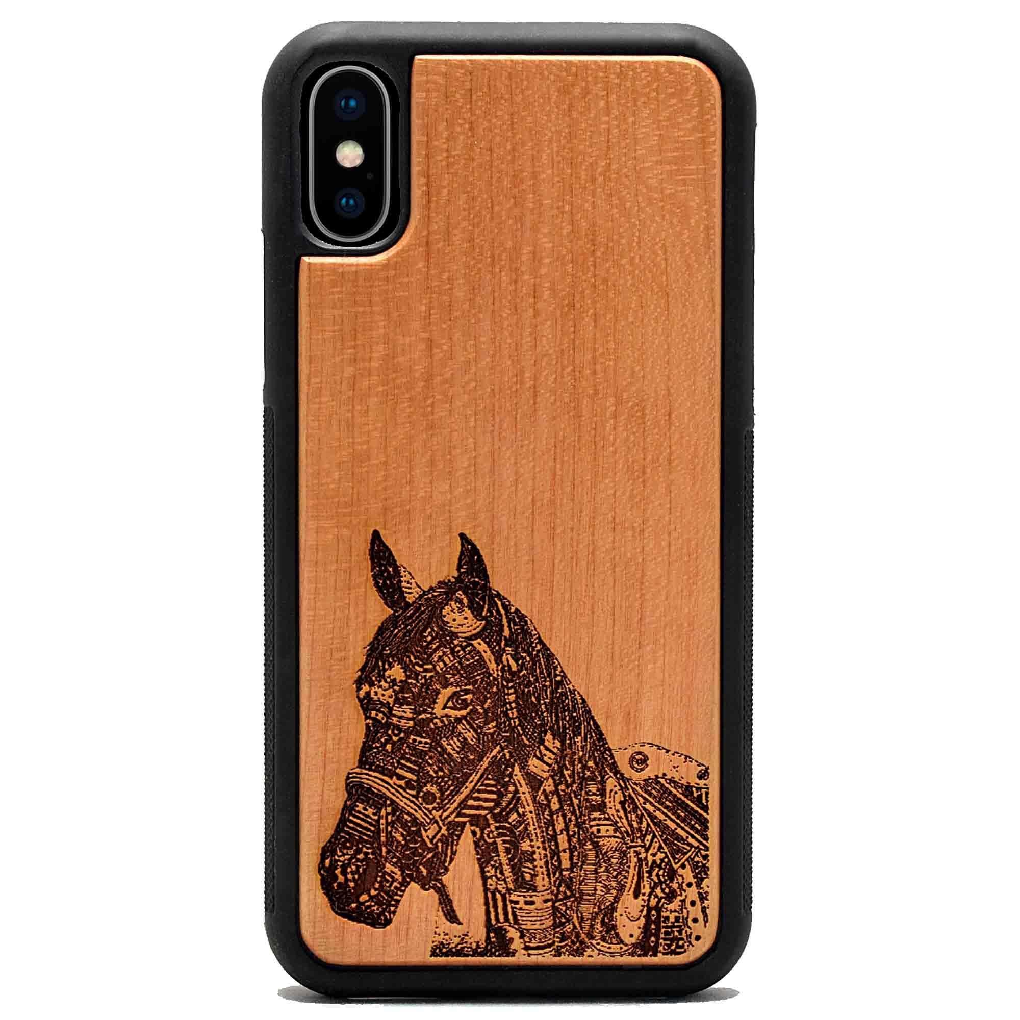 coque bois iphone gravure cheval mecanique apdran