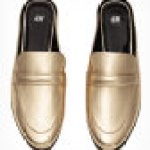 gold metallic loafer mules