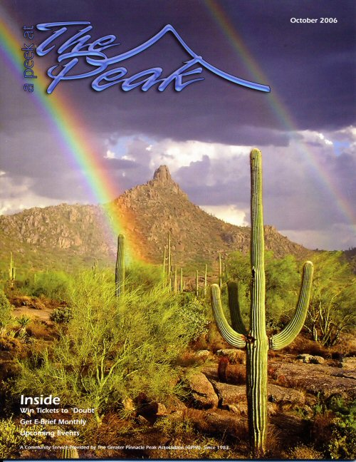 """Peak Promise"" by Kathy Howard was featured on the cover of the October 2006 issue of A Peek at the Peak magazine. The photo was also the winner of that year's Summer Fun What's Worth Preserving Photo Contest."