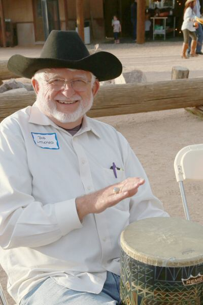 Bob Littlefield, a former Scottsdale council member and current candidate for the mayor's office in Scottsdale, enjoys participating in the drum circle that was facilitated by AZRhythms Connection. (Courtesy of Dennis Liddell.)