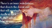 There is an inner wakefulness, that directs the dream and that will eventually startle us back to the truth of who we are. ~Rumi