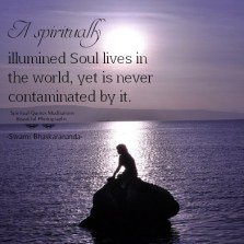 A spiritually illumined soul lives in the world, yet is never contaminated by it. Swami Bhaskarananda