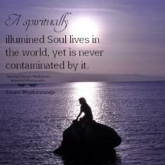A spiritually illumined soul lives in the world, yet is never contaminated by it. Swami Bhaskarananda