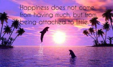 Happiness does not come from having much, but from being attached to little... ~Cheng Yen