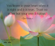 You know in your heart when it is right and it is true..Trust no other but your own intuition. April Peerless©2014