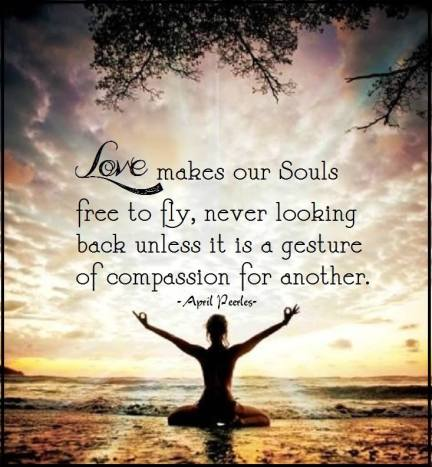 If we remain brave love will conquer our fears, breaking the hold that binds into a thousand pieces. Our Soul is now free to fly, never looking back unless it is a gesture of compassion for another. April Peerless