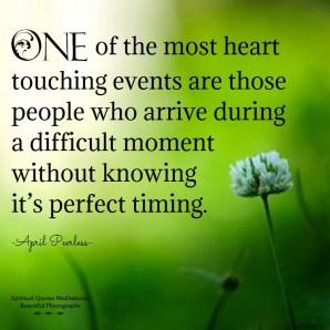 One of the most heart touching events are those people who arrive during a difficult moment without knowing it's perfect timing. They bring a good ear, love, smile and comfort. I am thankful to them and thankful also that Creator sends comfort in many ways. April Peerless