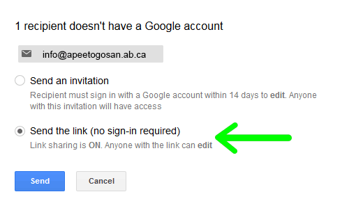 """Select the second option """"Send the Link (no sign-in required)"""""""