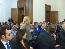 """Interested Students at the Conference Debate: """"EU Enlargement to the Balkans - the achievments of the Slovak Presidency"""""""