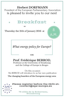 Thursday 21 January 2016 – Breakfast debate with Frédérique Berrod, Professor at the Univeristy of Strasbourg and at the European College Bruges