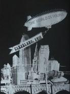 'World Is Yours', 22x30 Black Stonehenge Screenprint (Silver Ink)
