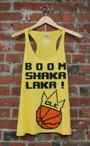 'Boom Shakalaka' on Yellow Gold Racerback Tank