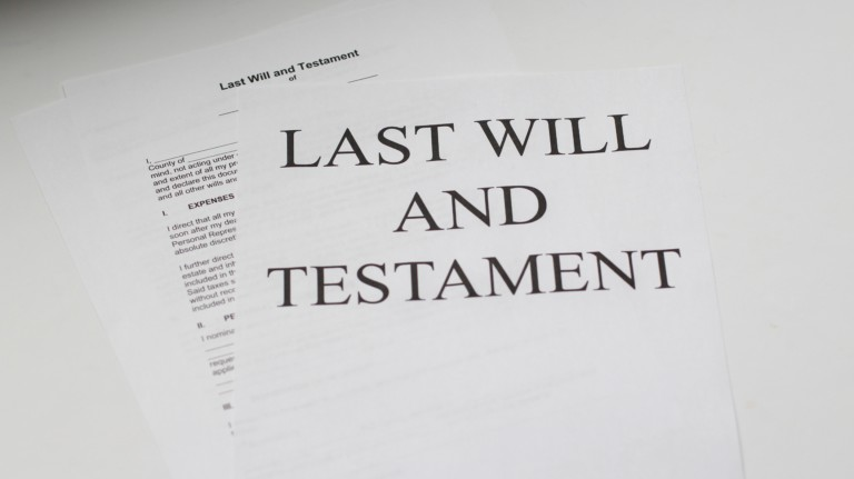 paper with lettering last will and testament
