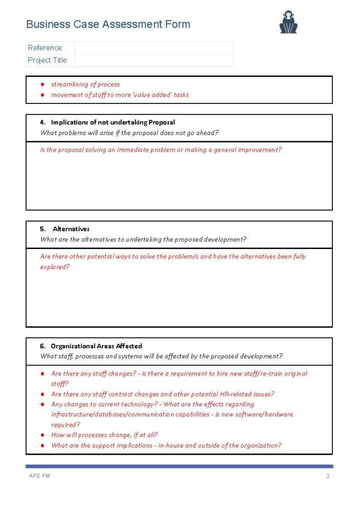 Business Assessment Template Seroton Ponderresearch Co